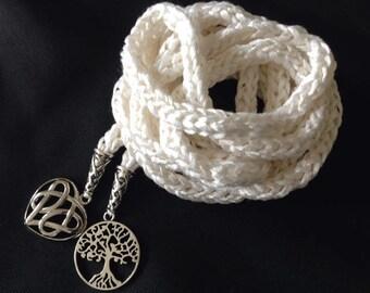 100% White Tussah Silk handmade handfasting cord