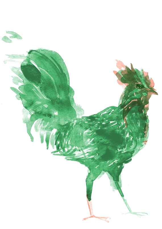 Rooster | Beautiful Watercolour Illustration Print of a Jade Rooster, created especially for Chinese New Year 2017 by Joanna Layla