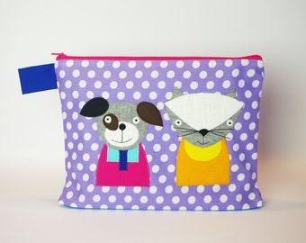 """Diaper bag/cosmetic bag """"Cat and dog"""""""