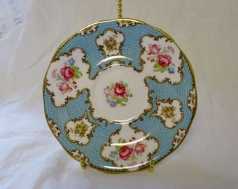 Vintage Queen Anne Saucer - Lady Eleanor, Blue, Gold Gilt, Pink Roses Purple Flowers - Bone China - Queen Anne Replacement China Pieces