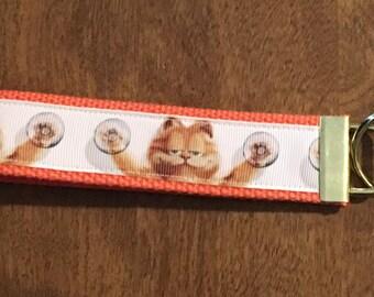 Garfield The Cat Key Chain Wristlet Zipper  Pull