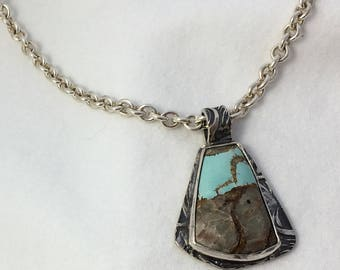 Natural Turquoise Pendant in Sterling Silver One of a Kind