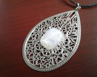 Clearance Sale, Last Chance, 65% Off Rainbow Moonstone and Silver Filigree Pendant Necklace on Black Leather Cord - NCK077