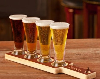 Beer Flight Personalized Paddle with Sampler Glasses; Personalized Beer Paddle; Beer Tasting Set Groomsman Gift; Fathers Day Gift [JBF91]