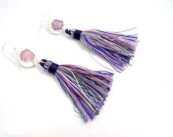 Purple Tassel Earrings, Tassel and Druzy Earrings, Multicolor Tassels, Purple Earrings