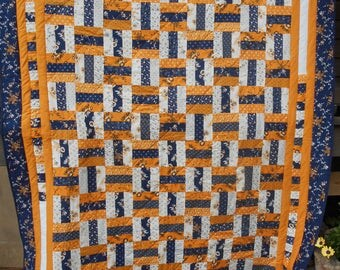 Blue and Gold Twin Bed Quilt