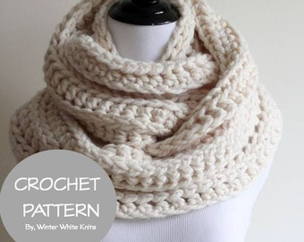Crochet scarf pattern- infinity scarf, PDF Instant Download Crochet Pattern, make it yourself tutorial, NOT a finished product, 0036