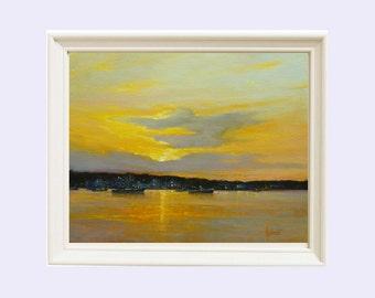 Landscape, Oil painting, Sunset, Art print, Wall art, Giclee,  Home decor, Original oil painting, Seascape, Gift for her, Barbara Applegate
