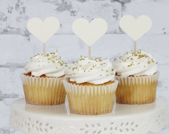 12 Ivory Cupcake Toppers - Heart Cake Toppers - Ivory Wedding Decorations - Cream Party Decor
