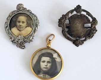 Lot of 3 Antique French Pendant Photo Brooch Stickpin