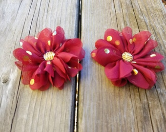 Maroon and Gold, Polka Dot Flower Clip, Girls Hair Clip, Hair Accessory, Wedding Flower, Photo Prop, Gold Polka Dot Flower, Baby Hair Flower