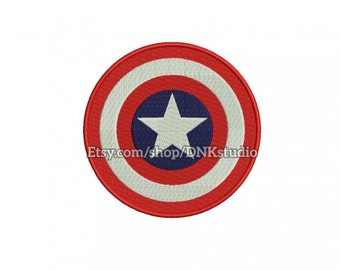 Captain America Shield Machine Embroidery Design - 6 Sizes - INSTANT DOWNLOAD