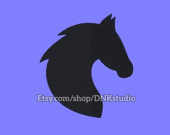 Horse Head Silhouette Embroidery Design - 5 Sizes - INSTANT DOWNLOAD