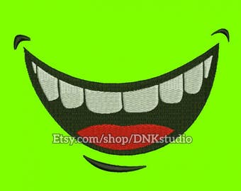 Smiley Mouth and Teeth Embroidery Design - 5 Sizes - INSTANT DOWNLOAD