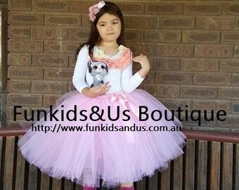 Pink tutu Skirt flower girl tutu skirt Tea length - wedding tutu, birthday tutu