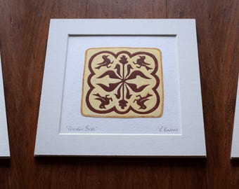 Medieval Tile Inspired Art Block Print (hare, Birds, Stag) - 3 designs available