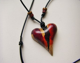 Wood Heart Necklace, 5th Anniversary, Valentine Heart, One Of A Kind