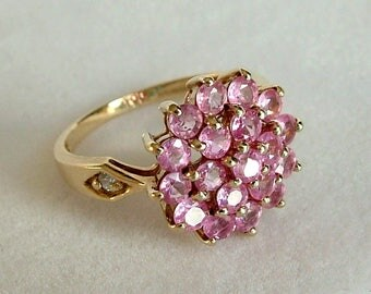 Pink Sapphire Gold Cluster Ring * 9ct Gold Sapphire Cluster Ring * Gold Sapphire Ring * Gold Pink Sapphire Ring * Sapphire Cluster Ring