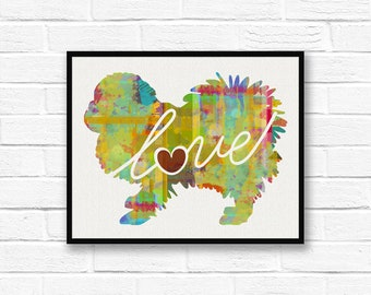 Pekingese Love - A Colorful Watercolor Print for Dog Lovers - Dog Breed Gift - Can Be Personalized With Name - Pet Memorial - Pet Loss Gift