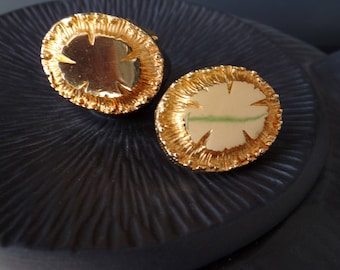 Mid Century vintage BRUTALIST gold floral style over-sized cuff links/ heavy weight solid coins/ 1960s textural bling