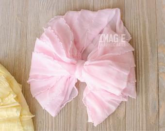 Messy Ruffle Bow Headband - Light Pink