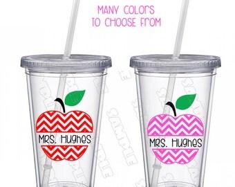 Teacher Tumbler with straw Personalized, Teacher Gift, Personalized Cup,  Teacher Apple, Teacher Appreciation 16 oz Teacher Cup, Teacher Mug