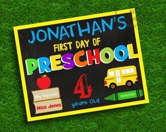 First day preschool chalkboard poster, School Poster, Last day of preschool, Preschool, Chalkboard, Editable, Instant download, WAHOO1