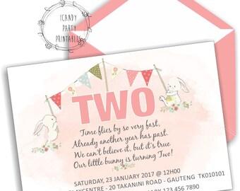Bunny Invitation,2nd Birthday Party Invitation, Bunny Rabbit Invitation, Girl 2nd Birthday invitation, Editable, Printable
