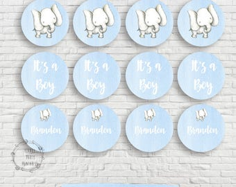 """Elephant Baby Shower Cupcake toppers, 2"""" Circles, Gift tags, Baby shower, Elephant Baby Shower, Editable, Printable, Instant download"""