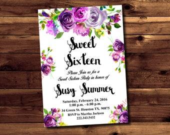 Sweet Sixteen Invitation - Sweet 16 Invites - Floral Bridal Shower - Flowers Invitation - White Invitation