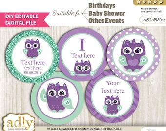 DIY Editable Girl Owl  Cupcake Toppers Digital File, print at home favor tags birthday, baby shower, baptism Mint - aa52bPM0ac