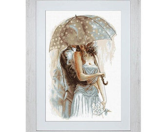 Cross Stitch Kit Under the umbrella DIY Cross Stitch Set Luca-S Series of 4 paintings Wall Decor Home decor Idea gift