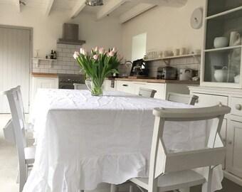 LINEN Tablecloth, Ruffled Tablecloth, Rustic Tablecloth, Stonewashed Linen,  Farmhouse Decor, Shabby