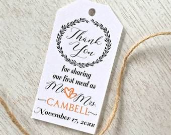 Wedding thank you tags, wedding tags, favor tags, napkin tie tags, custom favor tags, wedding labels, hang tags -set of 24 (tg40)