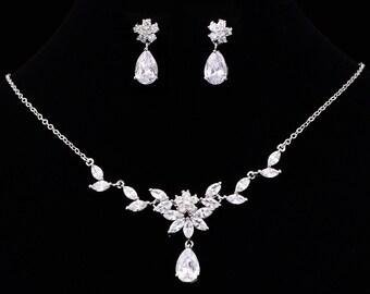 CZ Jewelry Set, CZ Wedding Necklace Set, bridal jewelry, wedding jewelry, zircon jewelry, cz jewelry set, jewelry set, Birthday Gift,KD80160