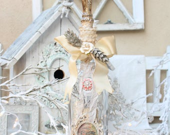 Christmas Handmade Altered Bottle/ Christmas Home Decor/ Shabby Chic Christmas/ Ornament