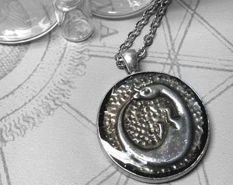 Dragon Ouroboros : hand embossed repoussé metal pendant necklace