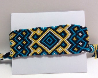 Large Diamond Blue and Yellow Friendship Bracelet