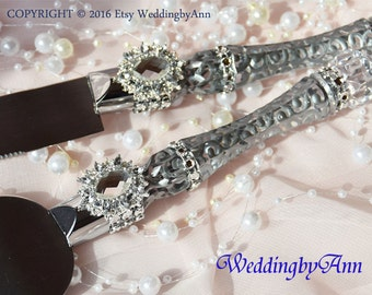 Silver Cake Serving Set , Winter Wedding, Cake Server and Knife Set, Wedding Cake Accessories, Wedding gift, Bridal shower, Weddings