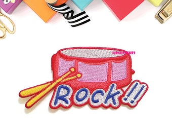 Red Rock Drum Kids Musical Instrument New Sew / Iron On Patch Embroidered Applique Size 10.6cm.x5.4cm.