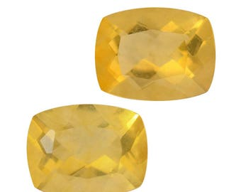 Canary Yellow Fluorite Cushion Cut Set of 2 Loose Gemstone 1A Quality 9x7mm TGW 4.65 cts.
