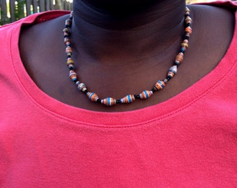 Paper beads Necklace #1917. Single strand. Handmade for you with love. #paperbeadjewelryrocks #perfectgift #waterproof