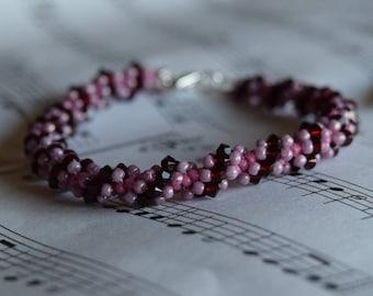 January Swarovski Spiral Birthstone Bracelet (Garnet)