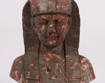 Antique large Egyptian Revival Pharaoh bust carved wood sculpture 19th Century