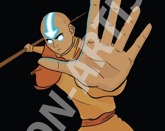 Sometimes the shadows of the past can be felt by the present (Aang, the last airbender - digital art print)