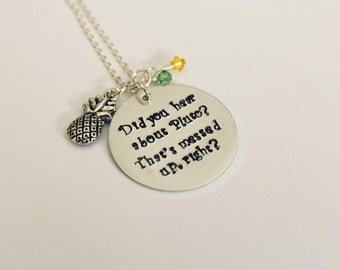 """Psych-Inspired """"Did You Hear About Pluto"""" Necklace, Hand-Stamped Jewelry, Aluminum Stamped Disc, Swarovski Crystal"""