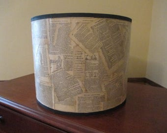 Ikea NYMÖ Drum Lamp Shade Decoupaged with pages from Richardson's 1890 Monitor of Free Masonry, Lamp Shade with Black Trim