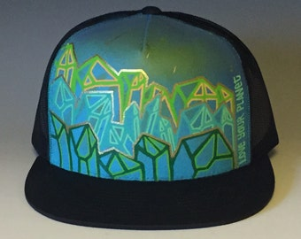 "Hand Painted Trucker Hat | Crystalscape (cerulean blue) | ""Love Your Planet"""