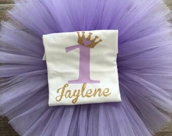 Birthday Princess Lavender Gold Glitter TuTu Set