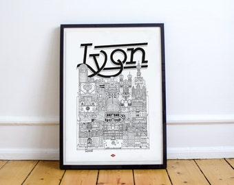 Lyon - series illustration * Travel With Me *. Black and white. 32 x 45 cm